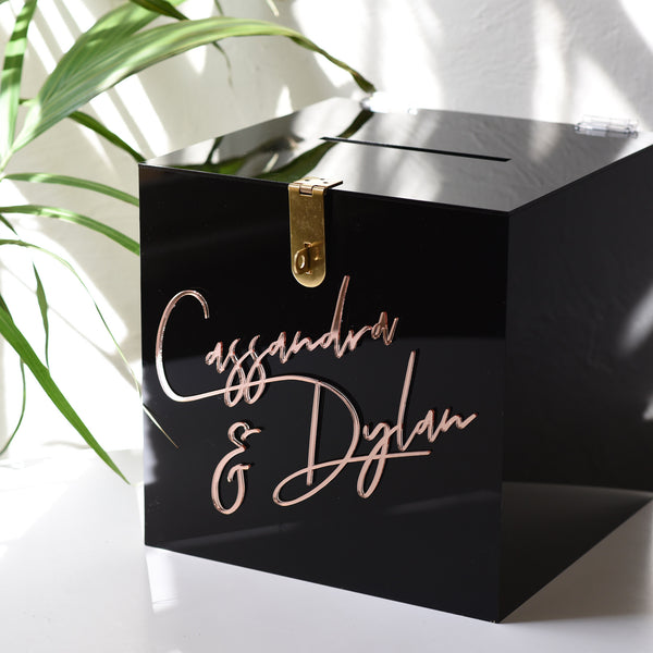 Hire - Personalised Wishing Well Card Box | Black Acrylic