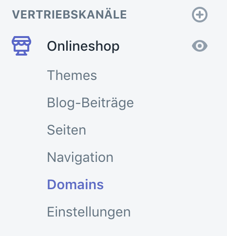 Find domains in Shopify Admin