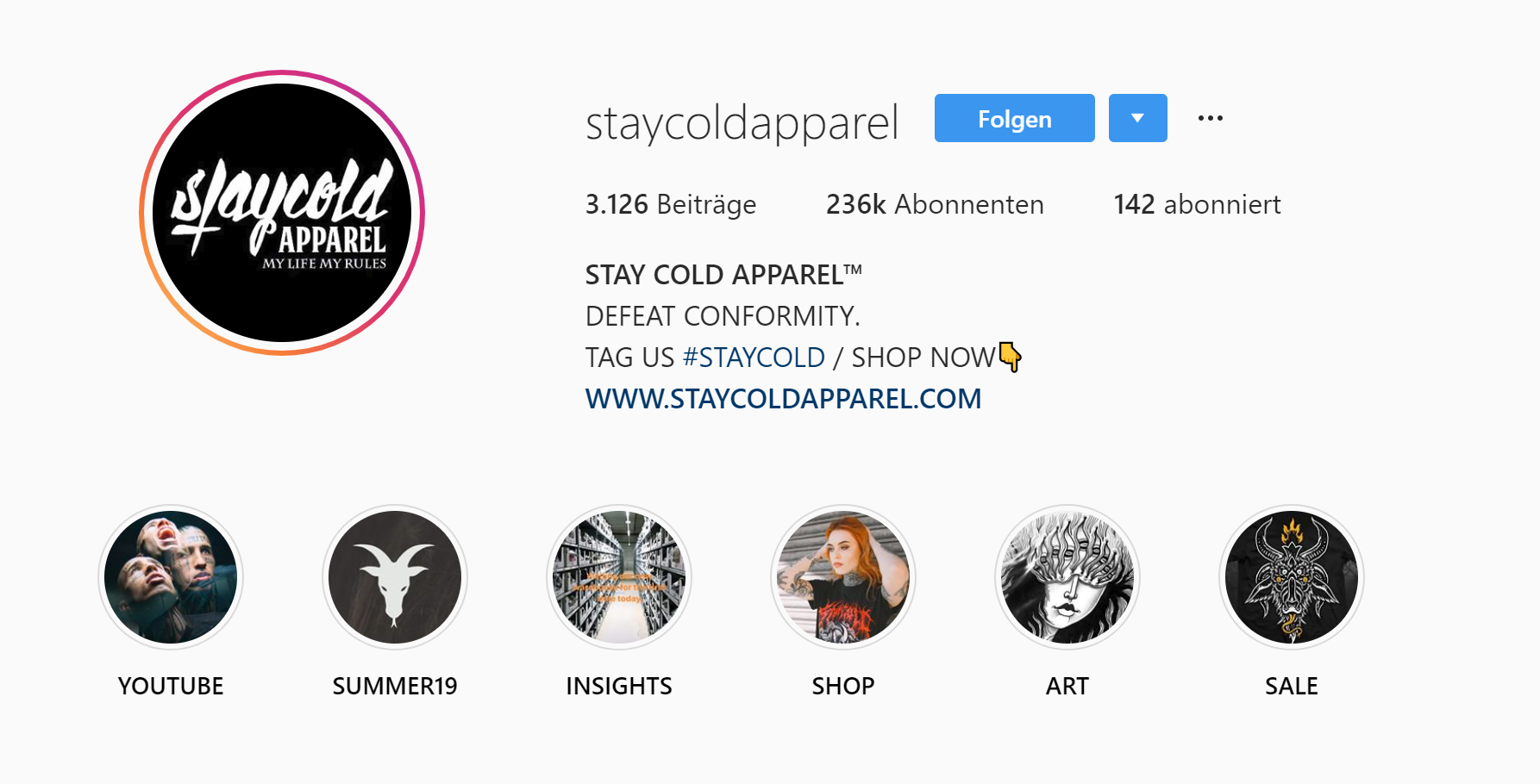 stay cold apparel hashtag marke