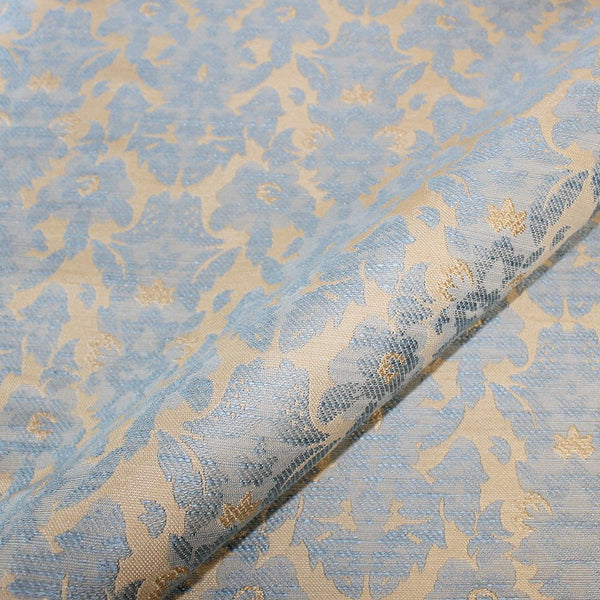 Jacquard upholstery fabric in blue and brown
