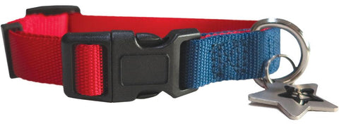 Red & Blue nylon collar