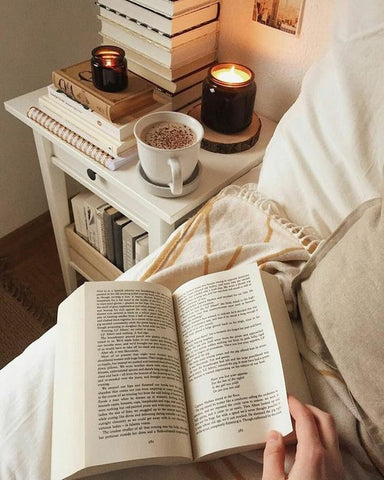 night time early night book relax bedroom bed