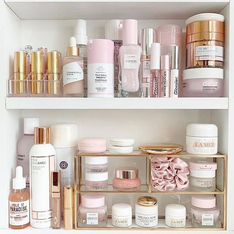 skin care collection in cabinet
