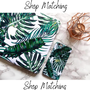 Coconut Lane's Palm Macbook Skin and matching Palm print Phone Case
