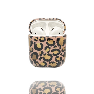 Airpods Case - Gold Leopard on white background