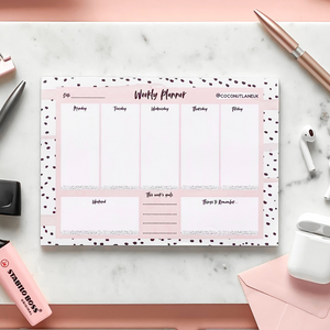 Weekly Desk Planner on marble background