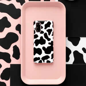 Cow Phone Case on pink background with cow print