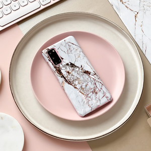 Samsung Phone Case - Rose Gold Marble on pink disk