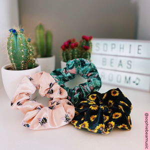 Honey Bee, palm pwr and sunflowers Scrunchie