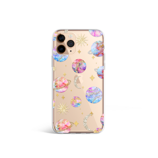 Clear Pastel Planets Phone Case