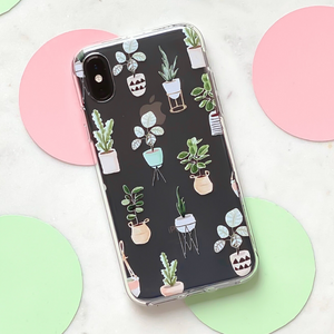 Clear Phone Case - House Plants on marble background surrounded by spots