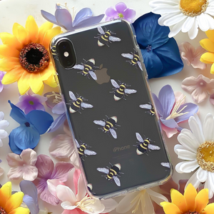 Bee Clear Phone Case surrounded by flowers
