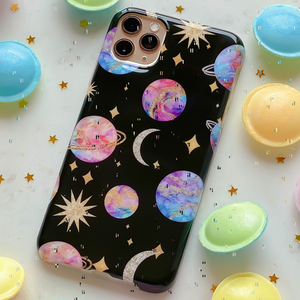 Planets Phone Case surrounded by flying saucers