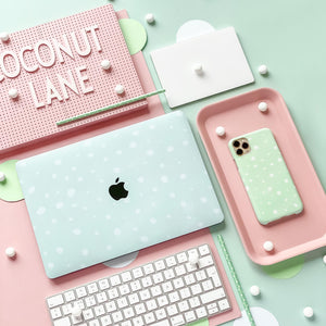 Mint Spots Phone Case with matching Macbook Skin
