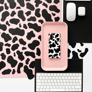 Cow Phone Case on cow print background