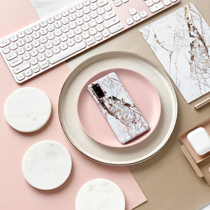 Samsung Phone Case - Rose Gold Marble with matching notebook