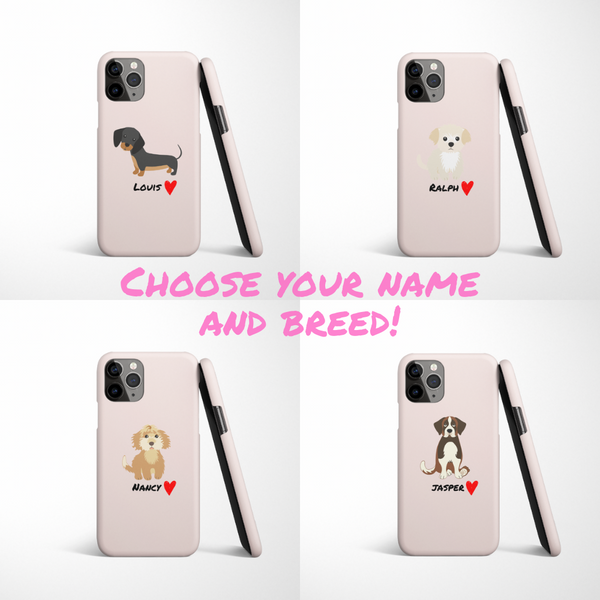 Personalised Love Heart Dog Phone Case - Choose Your Breed