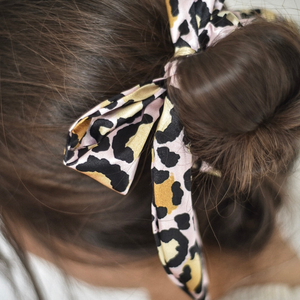 Gold Leopard Satin Bow Scrunchie