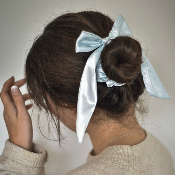 Mint Spots Satin Bow Scrunchie