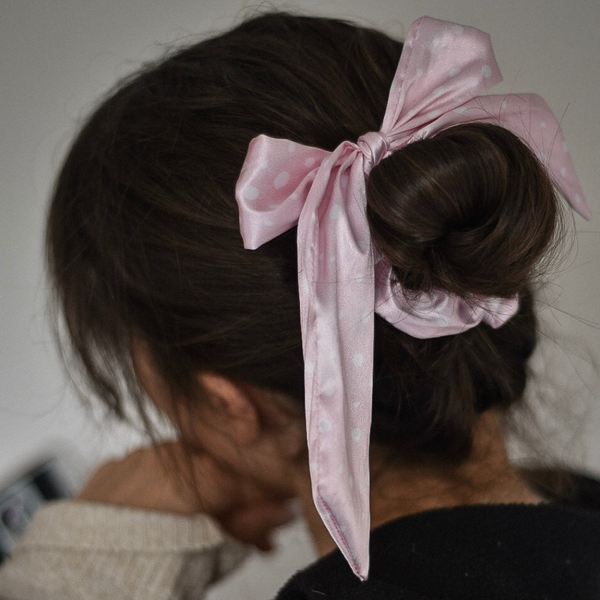 Pink Spots Satin Bow Scrunchie