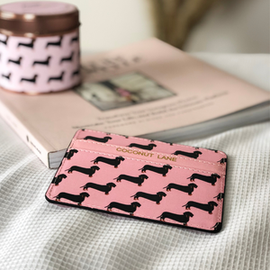 Pink Dachshund Card Holder make up bag and phone case