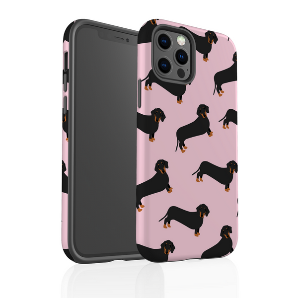 Tough Phone Case - Pink Dachshund
