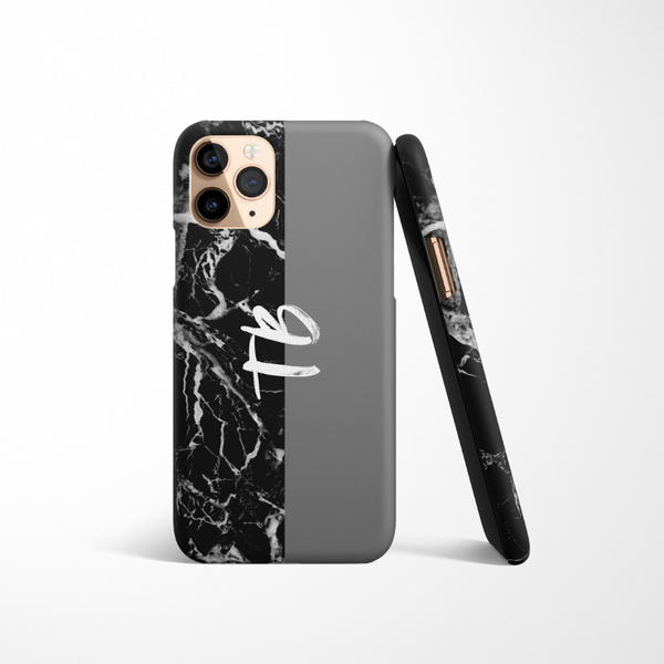 Personalised Phone Case - Grey & Black Marble