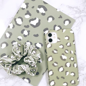 Sage Leopard Notebook, Phone Case and Scrunchie