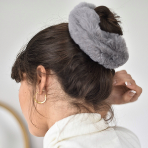 Girl modelling Faux Fur Oversized Scrunchie in Grey