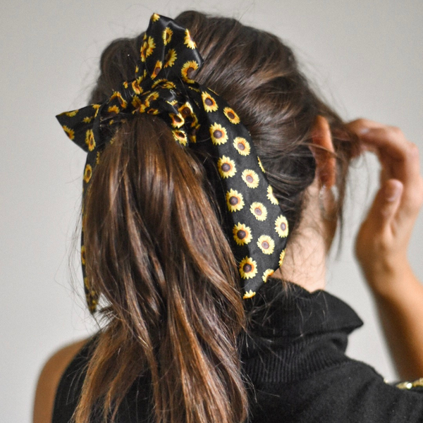 Sunflowers Satin Bow Scrunchie