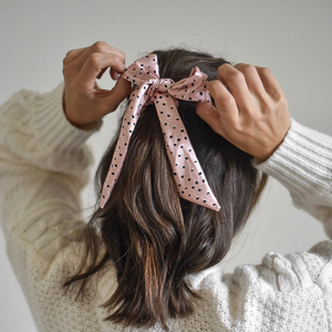 Nude Spots Satin Bow Scrunchie