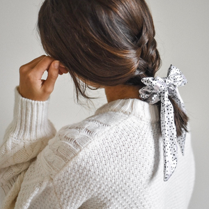 Dalmatian Satin Bow Scrunchie