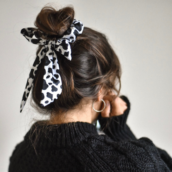 Cow Satin Bow Scrunchie