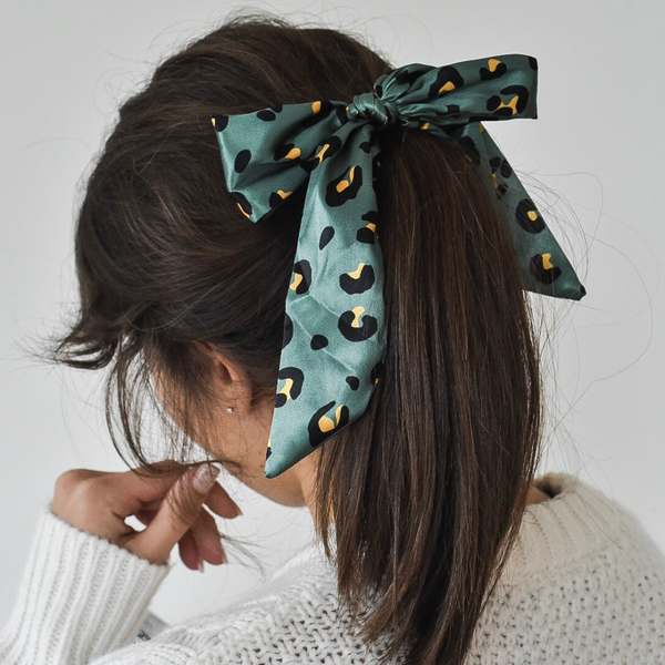 Khaki Leopard Satin Bow Scrunchie