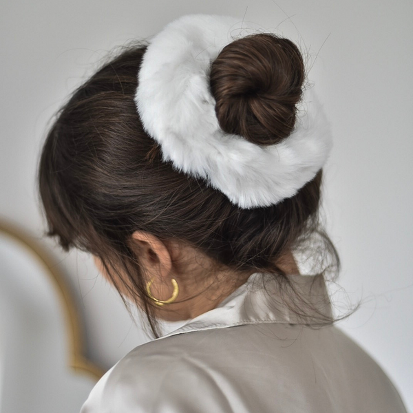 Faux Fur Oversized Scrunchie - White