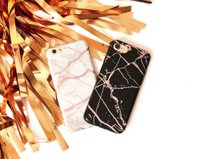 Metallic Marble Chrome Soft Phone Case - Black