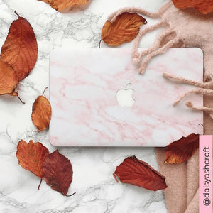 Coconut Lane's Pink Marble Macbook Skin photo by influencer @daisyashcroft