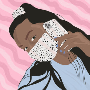 Illustration of girl wearing Dalmatian Face Covering, Phone Case and Scrunchie