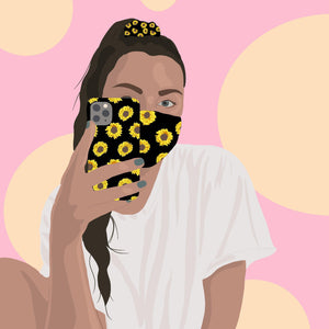 Illustration of girl with Coconut Lane's Sunflowers Phone Case, Scrunchie and Face Covering