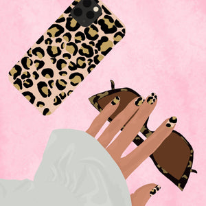 Illustration of Gold Leopard Phone Case with matching nails and sunglasses