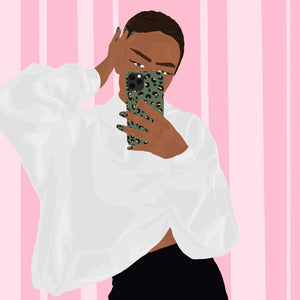Illustration of girl holding Khaki Leopard Phone Case with matching nails