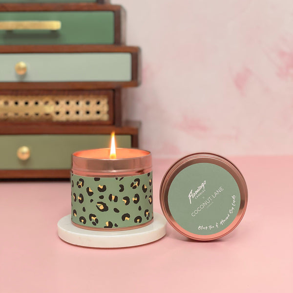 Khaki Leopard Candle - Black Tea & Almond