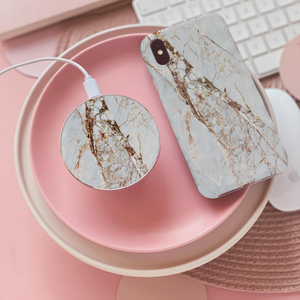 Rose Gold Marble Wireless Charger and Rose Gold Marble Phone Case on pink background