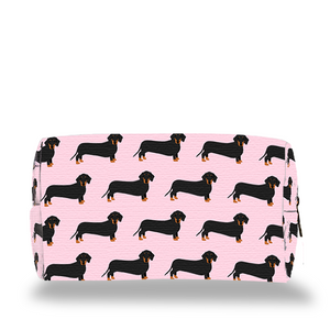 Pink Dachshund Make Up Bag on white