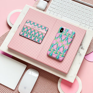 Coconut Lane's Lobster Card Holder and Phone Case on pink background with keyboard