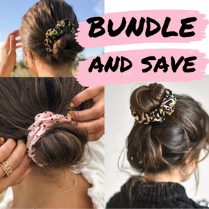scrunchies with pink writing