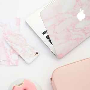 Coconut Lane's Pink Marble Macbook Skin, Phone Case and Notebook