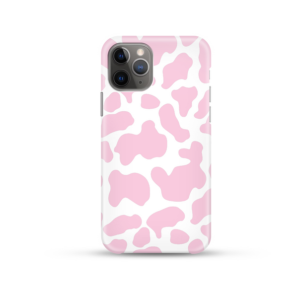 pink cow print on phone case