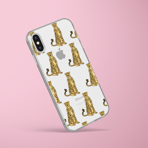 clear transparent phone case with cheetahs on pink background