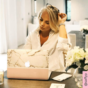 Coconut Lane's Pink Block Marble Macbook Skin with influencer @saffyp